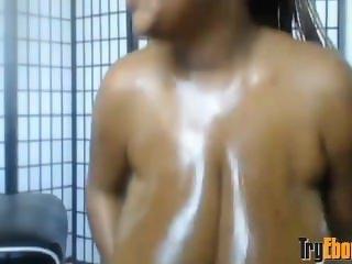 Big-girl ebony TaTa with sexy glasses fucks monster tits