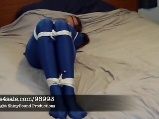 Samantha Tied in Blue Spandex Catsuit