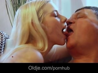 Young girls tame bossy old man with double sucking and rimming in threesome