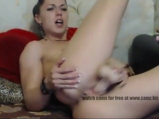 Charming nymph with sporty body carefully fucks herself with a rubber cock