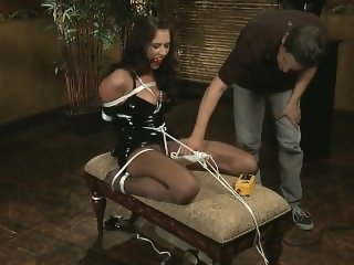 Alexis Grace latex tied and vibed