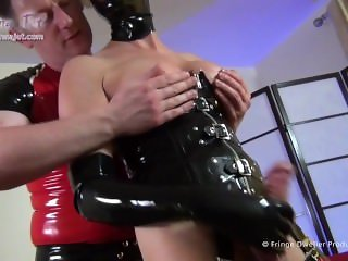 Full Body Latex Shemale is fucked