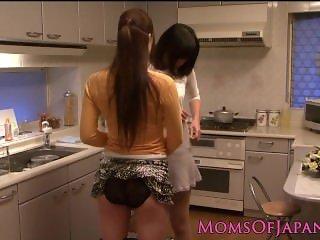 Lesbian asian milfs kissing