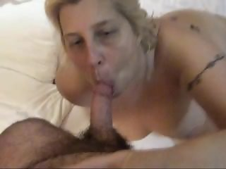 Fat MILF sucks my cock and I jizz all over her face and tits