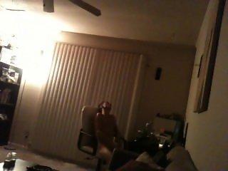Str8 blonde guy caught jerking in living room by roomie