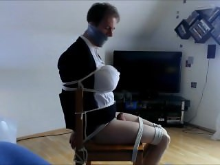 Busty Shemale tied to a Chair and massive gagged!