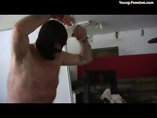 Hot Blonde whipping slave