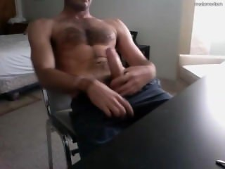Str8 furry college dude jerks on cam in dorm cums on desk