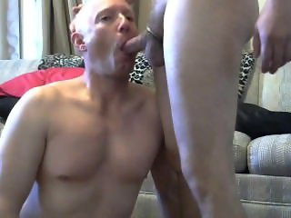 Gay sissy faggot Mike Karacson sucks cock gives blowjob gay oral sex