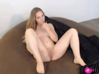 Barely 18 blonde babe NayMae fucks her tight pussy
