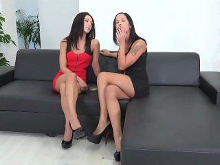 Two hot girls smoking