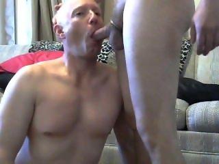 Gay sissy faggot Mike Karacson shaved gives blowjob sucks cock oral