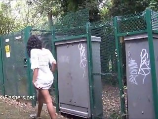 Ebony babe Mels From SEXDATEMILF.COM teasing public flashing and outdoor