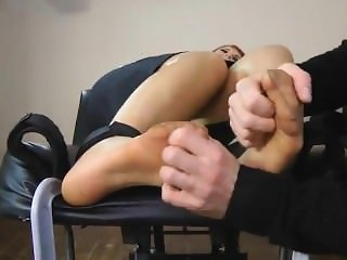 Gorgeous redhead secretary tickled