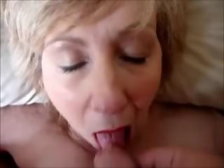 Blonde grandma blowing cock to orgasm