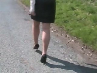 High Heel walking outdoors on a windy day