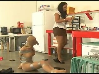Pantyhose Saleswoman Encased and Gagged