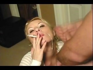 Smoking blowjob messy cum