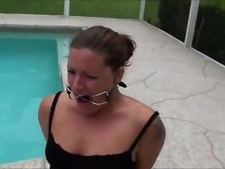 handcuffed barefoot in pool