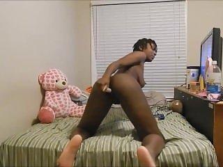 black girl from BlacksCrush.com goes anal in her bedroom