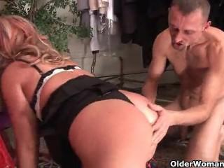 Hot mature lady fucking a young guy. her mouth is too small for his dick