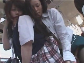 Lesbian groping and fucking on bus