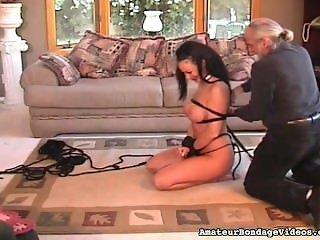 brunette is getting nice bondage