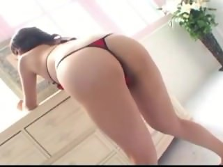 Japanese girl farts in messy thong
