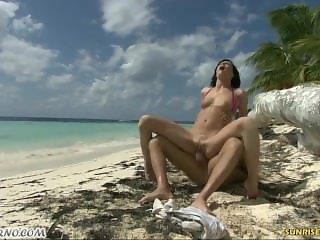 Brunette drilled hard on the Beach
