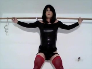Wetlook Dress and Red Stockings