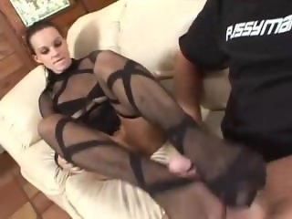 Black nylon footjob