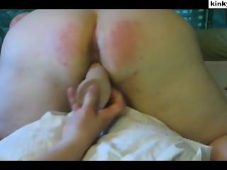 Caning and toying fat butt slave Andrea