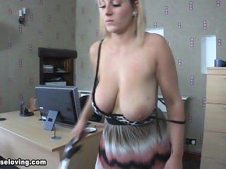 Busty MILF vacuum cleaner