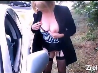 Busty hooker in stockings hard anal outdoor
