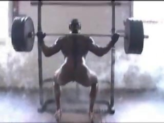 Michelle Tuggle - Black muscular goddess workout nude