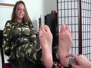 Army Girl Tickled