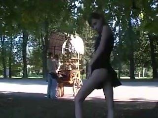 Pretty Girl Flashing in Public Park