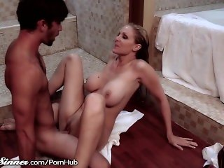 Julia Ann twisted Shower Fuck with Young Guy