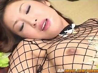 Saku Momona sucks banana and gets vibrator