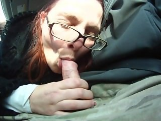 Giving a blowjob in the car