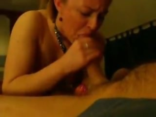 Cute blonde milf blows and swallows