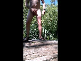 exhibitionist outdoor jerking with cumshot at the end