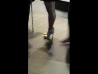 Candid High Heels Skirt and legs