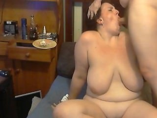 bbw takes a load in her throat and almost chokes