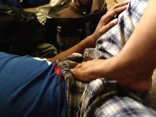Ballcrushing footjob through the pants