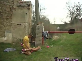 Nice young blond Josje poking her lover outdoors