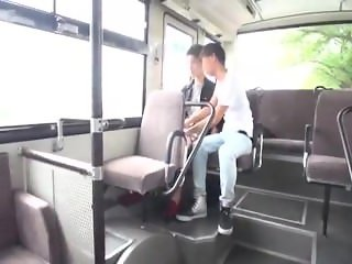 Gay Japanese men have sex on a public bus