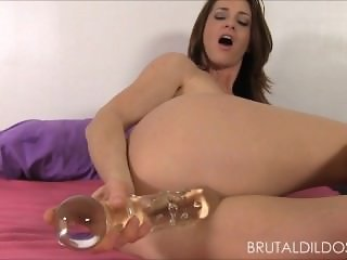 Cute babe fucking her pussy hard with two big brutal dildos in HD
