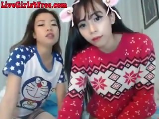 Two Skinny Asian Webcam Teens Playing.