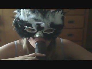 Masked Cuckold WIfe Eats Cum From Bull